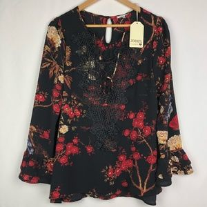 Jodifl black blouse with red floral lace